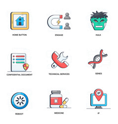 Medical equipment flat icons pack vector