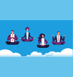 meditation yoga group business team relaxing and vector image