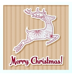 Merry Christmas card on cardboard with deer vector image