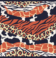 mixed animal skin print safari textures mix vector image