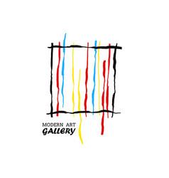 Modern art gallery bright lines concept vector