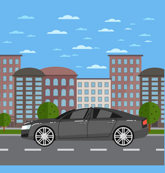 Modern business sedan in urban landscape vector