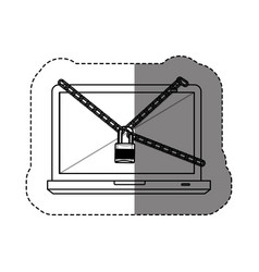 Monochrome contour sticker with laptop with chains vector