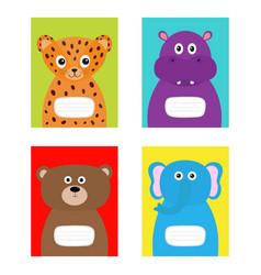 Notebook cover jaguar hippopotamus elephant bear vector