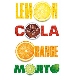 Orange mojito cola text with many water drops vector
