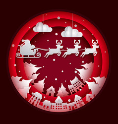 paper art santa claus on night sky in city town vector image