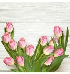Pink fresh tulips flowers eps 10 vector