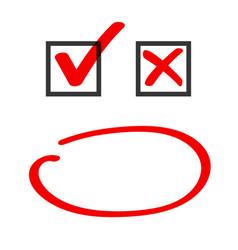 poll vote check box and marker circle correct vector image
