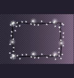 Rectangular frame made christmas lights sparkling vector