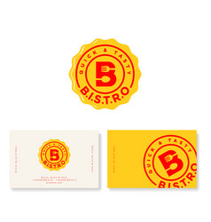 red b letter bistro cafe logo yellow badge vector image