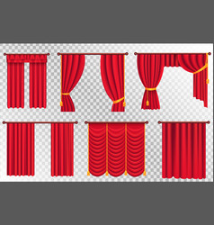Red curtains set theater curtain vector