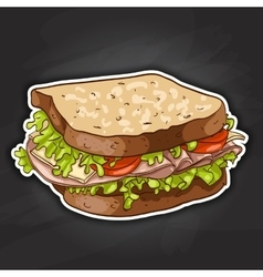 sandwich color picture sticker vector image