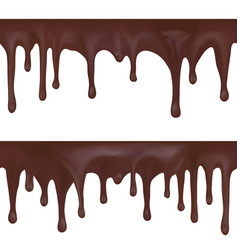 Seamless border dripping melted chocolate vector