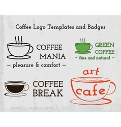 set coffee cafe icons logo and business cards vector image