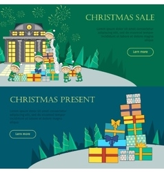 Set of Christmas Flat Design Web Banners vector image