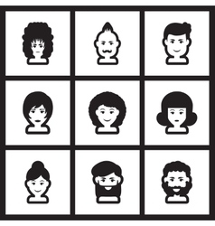 Set of flat icon in black and white style vector image
