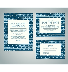 set of wedding invitation cards with abstract vector image