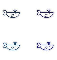 Set paper stickers on white background whale with vector
