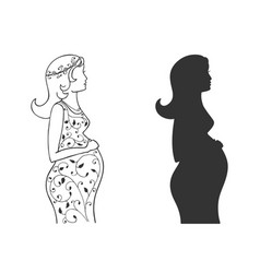set silhouettes of a pregnant girl vector image