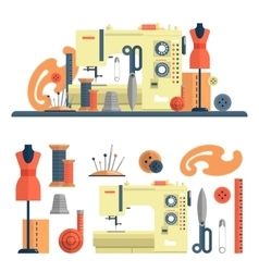 Sewing machine accessories for dressmaking and vector