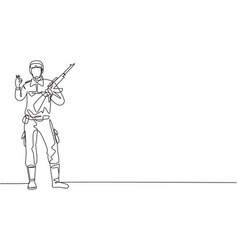 single continuous line drawing soldier stands vector image