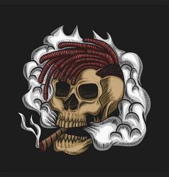 Skull smoke vector