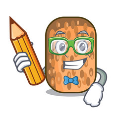 Student fried tempeh in bowl character wooden vector