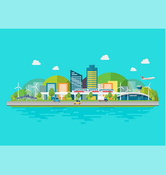 sustainable eco friendly cityscape vector image