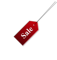 tags sale red color with shadow stylish vector image