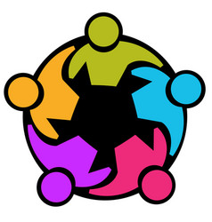 Teamwork group working together icon vector