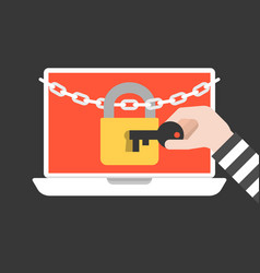 Thief hand holding key to open lock and chain vector