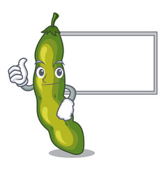 Thumbs up with board character green beans in vector
