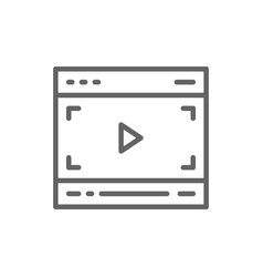 video player on browser multimedia page line icon vector image