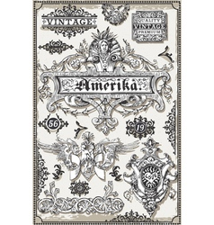 Vintage Page Hand Drawn American Banners and vector image