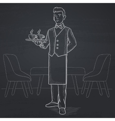 Waiter holding tray with beverages vector