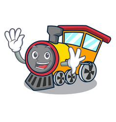 Waving train character cartoon style vector