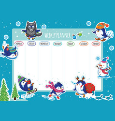 Weekly planner with winter penguins cartoon design vector