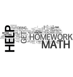 where can you get math homework help text word vector image