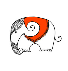 White elephant sketch for your design vector