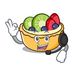with headphone fruit tart mascot cartoon vector image