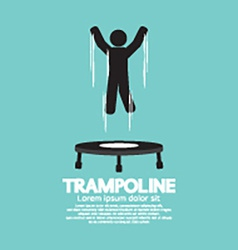 Black symbol of a person jumping on trampoline vector