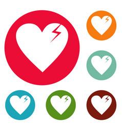 broken heart icons circle set vector image
