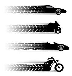 car and motorbike symbols vector image vector image