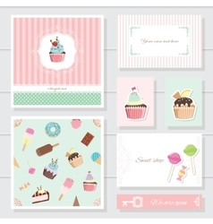 Cute card templates set with sweets vector image vector image