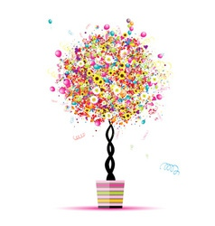 Happy holiday funny tree with balloons in pot for vector image vector image