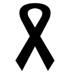 Icon black mourning ribbon vector