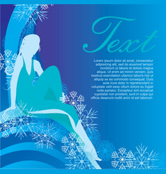 winter girl on blue background vector image vector image