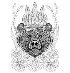 Zentangle stylized bear with war bonnet on flowers vector image