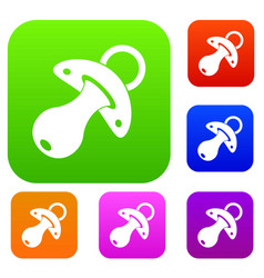 baby pacifier set color collection vector image