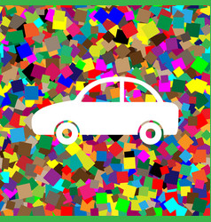 car sign white icon on vector image